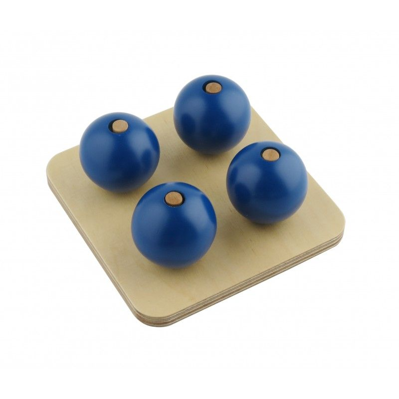 Four Blue Balls On Small Pegs